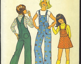 Girls' Jumper and Overalls Size 4 Vintage Simplicity 7032 New