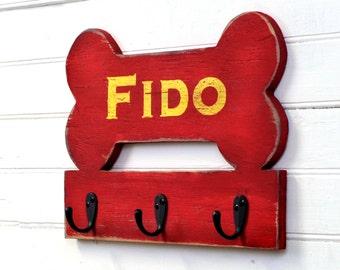 Dog Bone Hook Leash Hook Customizable Name Dog Leash Holder