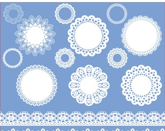 Lace clip art labels or frames, lace ribbon, lace borders in white, digital lace, Digital scrapbook doilies -  015