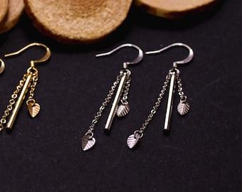 DESTASH earrings small silver leaves