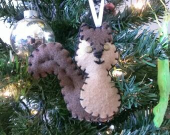 Kitchmas Squirrel Christmas Ornament Feltie Plush Brown