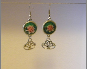 "Earrings ""Lotus rose"" - resin Cabochon and silver"