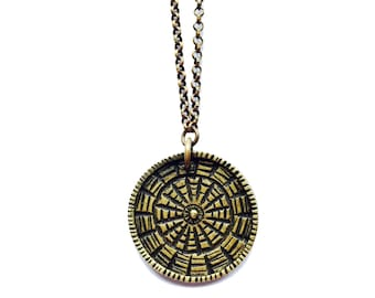 SALE Reversible Carved Medallion - Brass