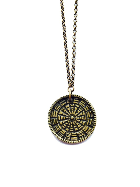 SALE Reversible Carved Medallion - Brass
