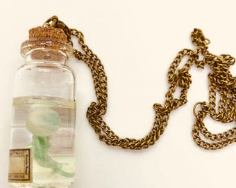 Curious Jellyfish Bottle Charm with Necklace Chain