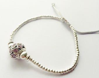 Sterling silver bracelet, Karen Hill, Silver hearts, Zircons, Pink Zircons, Sterling silver jewelry.