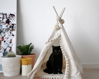 Cat house, cat cave, modern dog bed, cat teepee, cat lover gift, cat gift, cat beds, cat accessories, cat tipi, pet bed with pom pom pad