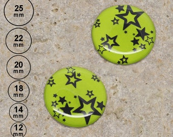 2 cabochons star anise, 25 mm 22 mm 20 mm 18 mm 14 mm 12 mm