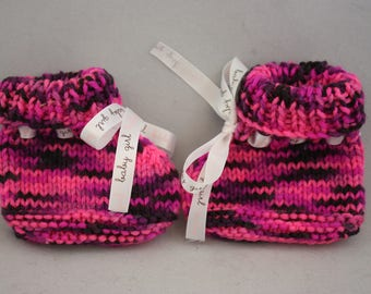 baby booties, booties, hand knit booties, knit booties, hand knits, pink booties,