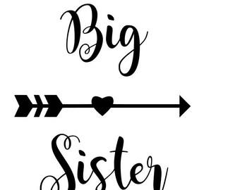 Big Sister Cut File, big sister arrow, big sister svg