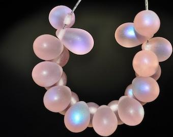 20 Pieces 9x6mm Finest~Matte Frosted Pink Rosaline CZECH GLASS w/ Aurora Borealis AB Teardrop Briolette - A0792