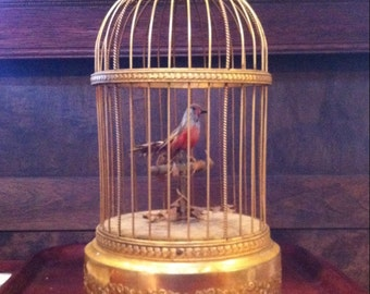 Early 1900's Bontems Bird in a Gilded Cage French Automaton