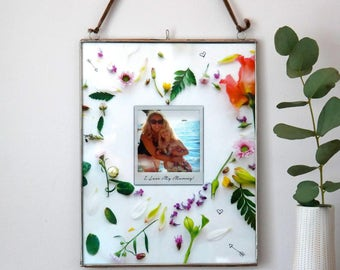 Personalised Floral Heart Photo Hanging Frame, Mothers day gift, photo gift