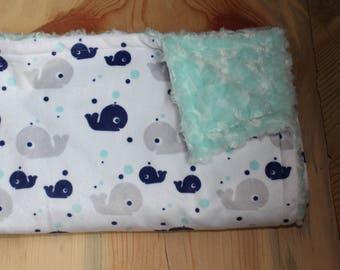 Whale Blankie-Whale Baby Blanket-Whale Blanket-Whale Nursery-Gender Neutral Blanket-Whale Baby-Minky Blanket-Baby Shower Gift