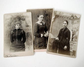 Cabinet Card Photographs, Antique Black White Portraits, Victorian Women, Fine Art Photography, Black Dresses, 1800s Studio Photography