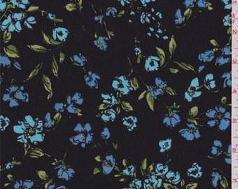 Black/Sky Blue Floral Crepe de Chine, Fabric By The Yard