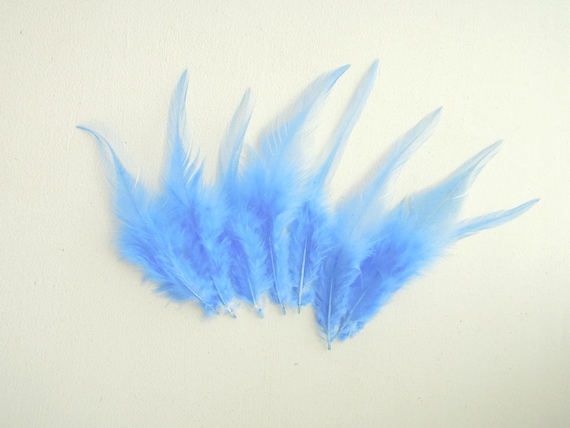 10 Sky blue natural feathers - Natural feathers light blue - Blue bird feathers 4-7 inches - Bright blue real feathers