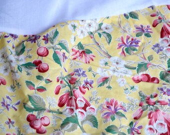 Vintage Bedskirt - Sheridan Cherries and Flowers on Yellow - Queen Size
