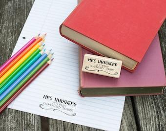 Customizable Teacher School Stamp - Custom Teacher Stationery Stamp - Teacher Appreciation Gift - Teacher Gift - T7