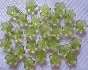 25  Light Olivine Green Transparent 5 Petal Czech Glass Flower Beads  7mm