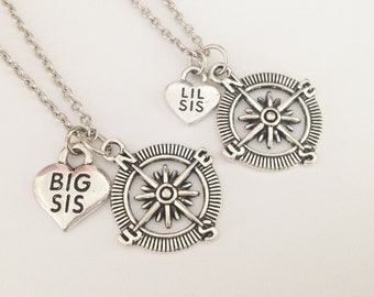 2 compass necklace - Big sis necklace - Lil sis necklace - sister necklace -  friendship gift -  birthday gift