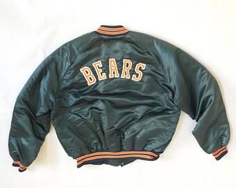 90s Satin Jacket - Vintage Chicago Bears Chalk Line Size XL - Chicago Bears Satin Jacket Spellout