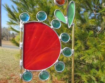 Stained Glass Garden Art 'Wildflowers Garden Stake' (1)  Glass Yard Art, Whimsical Garden Sculpture, Copper, Lead Construction