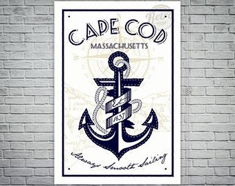 cape cod anchor screen printed poster massachusetts nautical retro vintage silk screen