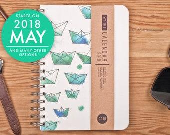 2018 2019 Wochenplaner mit einem Papier von hoher Qualität! Origami Schiff Boot A5 Tagebuch Kalender Calendario Kalender Agenda Tagebuch! Offenes Datum