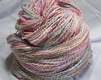 Prismatic Waters Blue Green Pink Tan hand dyed handspun yarn 438 yards 5.9 oz Merino Bamboo Metallic/Poly Two Ply
