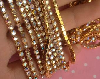 Gold Rhinestone Trim by the yard, bridal trim, luxury rhinestone banding, rhinestone metal trim, gold/silver/blue/pink rhinestone Applique