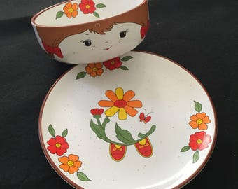 Vintage Children's Dishes - 'Berry Best Friend' by Fred Roberts - Stacking Dish Set (Bowl & Saucer - Girl) 1970s