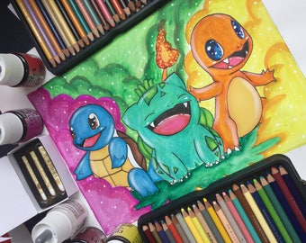 Squirtle Bulbasaur and Charmander