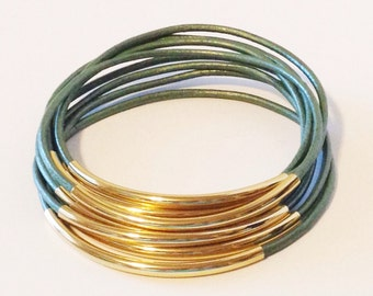 Ocean Green  Leather Bangle Bracelet with Gold or Silver Tube Accents, Tube Bangles, Tube Bracelets