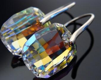 Swarovski Crystal AB Sterling Silver Earrings