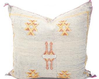 Cactus Silk Pillow Cover, Sabra Silk Pillow, Moroccan Cactus Silk Pillow, Gray Sabra Silk Pillow Cover, Moroccan Sabra Silk | 19x19 | Jean