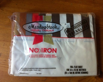 vintage Meadowbrook luxury percale full  flat sheet new old stock 54 inches by 75 inches  striped
