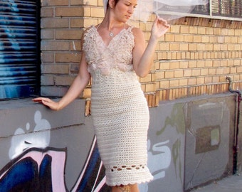 Custom Boho Crochet Vintage Lace Wedding Dress and Matching Veil by Krisztina Lazar