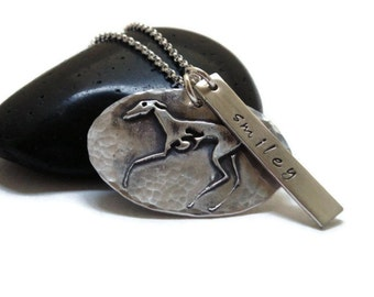 Greyhound  Tripod Necklace - Greyhound Jewelry - Greyhound - Tripod - Remembrance - Osteosarcoma