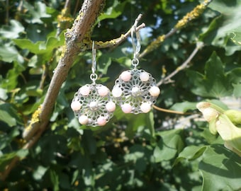 Earrings in 925 sterling silver and pink Opal beads