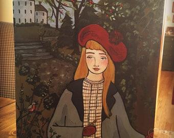 ORIGINAL The Secret Garden 8x10 folk art painting