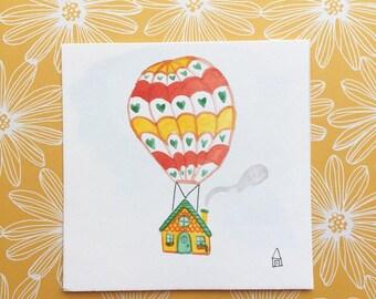 Hot Air Balloon Tiny Original Watercolor Painting