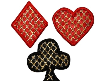 ID 0065ABC Set of 3 Clubs Hearts Diamonds Embroidered Iron On Applique Patch
