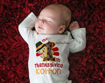 My first Thanksgiving Baby Shirt Or Bodysuit - Personalized Embroidered Turkey -Pilgrim Turkey Shirt - First Thanksgiving Turkey