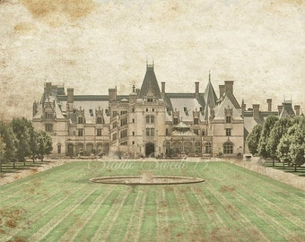 "Architectural Photo, Biltmore Estate, North Carolina Landscape Photo, Asheville, Green Beige Decor, Historical Building- ""Biltmore Splendor"""