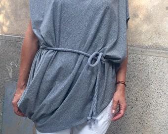 Plus Size Grey Tunic,Maxi Tunic,Casual Tunic,Loose Blouse,Oversized Grey Blouse
