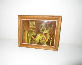 Reading Teddy Bear Plaque - Vintage 80's Tile Plaque in Wood Frame - Wall Art  or Trivet by Kimberly Enterprises