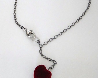 Chunky velvet heart, red velvet heart necklace with a heart clasp, valentine necklace...