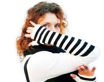 Fingerless Gloves Striped Black and White Cotton Arm Warmers Steampunk