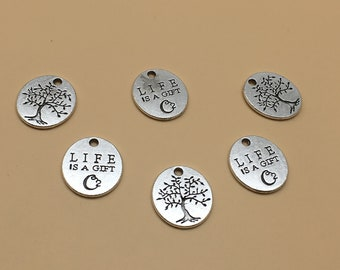 "50pcs  ""Life is A Gift"" Charm ""Charm, Antique Silver Pendant findings, Antiqued silver DIY supplies ,Jewelry Supply"
